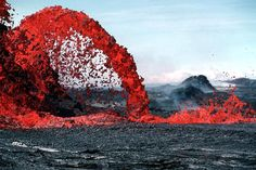 Lava refers both to molten rock expelled by a volcano during an eruption and the resulting rock after solidification and cooling. When first erupted from a volcanic vent, lava is a liquid at temperatures from 700 to 1,200 °C (1,292 to 2,192 °F). Up to 100,000 times as viscous as water, lava can flow great distances before cooling and solidifying.