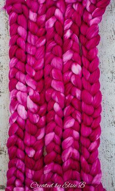 Magenta - Hand dyed Superwash Merino / Nylon combed top. Good for spinning yarn, felting, blending
