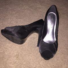 LULU Townsend Black Satin Pumps size 7 1/2 Peep toe black satin pumps, have been worn once. 4 inch heel. Very cute. Lulu Townsend Shoes Heels