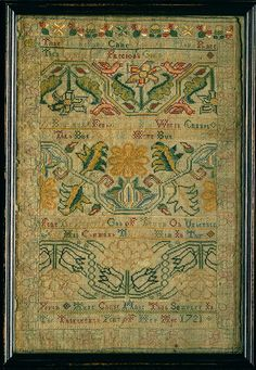 Anne Chase: Embroidered sampler made in 1721 in Rhode Island