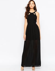 True Decadence Tall Maxi Dress With Lace Up Halter Detail