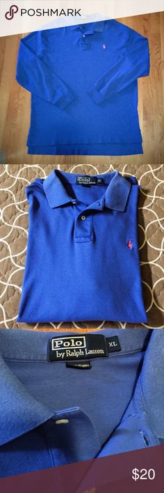 Men's Polo Ralph Lauren Long Sleeve Golf Shirt Men's Classic Fit-Soft Touch Polo Shirt. Excellent used condition. Attractive Periwinkle Color. Ribbed Polo collar. Two-button placket. Long sleeves with ribbed armbands. Tennis tail: uneven hem that helps to keep the shirt in place when tucked in. Pink embroidered pony at the left chest. 100% cotton. Machine washable. Smoke/Pet Free 🏡. Polo by Ralph Lauren Shirts Polos