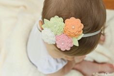 Felt Flower Headband  Pink Peach White & by MapleSugarLane on Etsy, $6.95