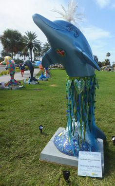Sponsor:   Clearwater Solid Waste  Artists:  Garden Fairies & SHAMc #clearwatersdolphins Solid Waste, Local Artists, Whales, Public Art, Dolphins, Mermaids, Statues, Fairies, Swim