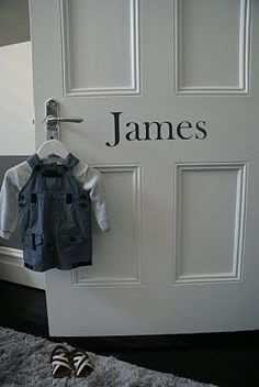 Kids names on their doors, how cute...but a monogram would be pretty cool too...hmmmm
