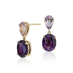 Truly unique, these #ZACZacPosen gemstone earrings feature amethyst and rose de france gemstones framed in 14k yellow gold available exclusively at #BlueNile