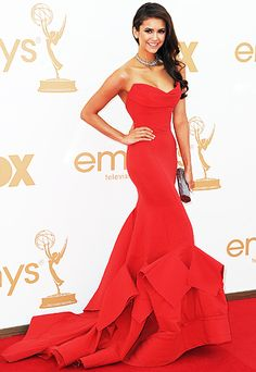 Nina Dobrev in a stunning Donna Karen gown at the Emmys 2011.