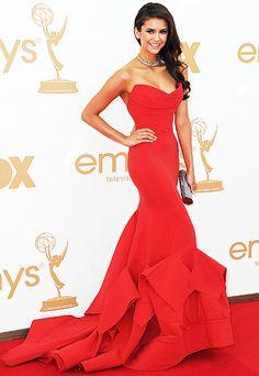 Nina Dobrev in a stunning Donna Karen gown at the Emmys 2011.
