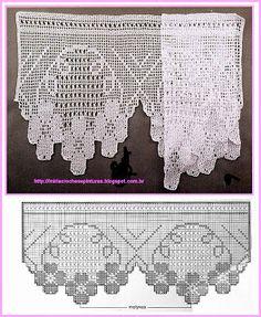 Wide crochet edge for valance. Crochet Boarders, Crochet Lace Edging, Crochet Art, Crochet Home, Vintage Crochet, Crochet Doilies, Filet Crochet Charts, Crochet Stitches, Crochet Patterns