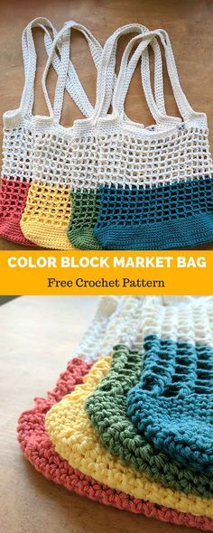 This bright, contemporary-but-classic market bag is great for trips to the farmers' market, the beach, the library, or for a sunny downtown stroll! Constructed with sturdy worsted-weight cotton, it uses basic chains and double crochet stitches to form a simple square mesh pattern. The solid single crochet bottom creates a sturdy base, and the straps...Read More »