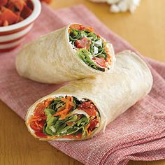 Wrap-and-Roll Sandwiches | MyRecipes.com  try it with jalapeno spread, hummus, or another spread instead of goat cheese