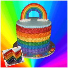 Rainbow Theme Petal Cake with Rainbow Cake Layers, Rainbow Buttercream...