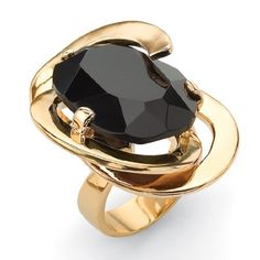 PalmBeach Jewelry Oval Cut Black Glass 14k Yellow Gold-Plated Abstract Ring Lillith Star. $49.99