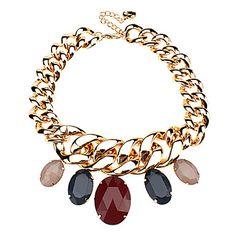 Color y de moda collar de piedra