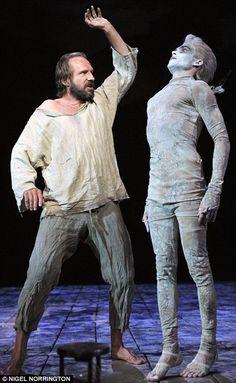 Ralph Fiennes as Prospero, Elisabeth Hooper as Miranda, Michael Benz as Ferdinand and Tom Byam Shaw as Ariel in Shakespeare's The Tempest, directed by Trevor Nunn (2011) Theatre Royal Haymarket, London