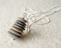 Beach Stone Cairn Necklace - stacked beach stones - silver plated ball chain - Cairn Jewelry - gift under 50