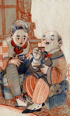 sooo first thing I upload to my tumblr! Hercule Poirot and Hastings drinking chocolate for my dear sister :)