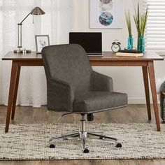 Featuring classic design and exceptional durability, the Ashland Home Office Chair from Serta is ideal for your workspace. Height-adjustable, it offers personalized comfort along with swivel and casters for flexibility and mobility. Chair Upholstery, Upholstered Dining Chairs, Desk Chairs, Chair Fabric, Wooden Chairs, Chair Cushions, Foam Cushions, Swivel Chair, Chair Bed