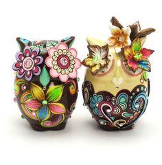 Autumn Wedding Cake Topper Owl Bride and Groom Ceramic Decoration Gift 00015  www.goodiemud.com