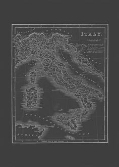 VINTAGE ITALY MAP Blueprint Map of Italy by EncorePrintSociety