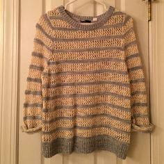 Cotton Urban Outfitters sweater 3/4 length sleeves, cream and light blue Urban Outfitters Sweaters Crew & Scoop Necks