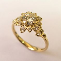 Diamond Art Deco Petal Engagement Ring No.2B - 14K Gold and Diamond engagement…