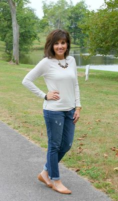 Casual fall fashion for women over 40 - boots, flats and long sleeve pullover. Great outfit idea for running errands.