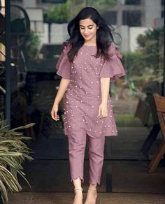 Chikni Chameli Theme Cotton Moti Work Semi Stitched Kurti With Pant from Pakistani Dresses Casual, Indian Fashion Dresses, Dress Indian Style, Pakistani Dress Design, Indian Designer Outfits, Salwar Designs, Kurta Designs Women, Kurti Designs Party Wear, Short Kurti Designs