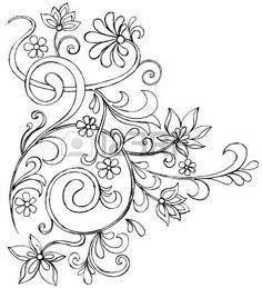 Sketchy Doodle Reben und Blumen Blättern Vector Zeichnung Stockfoto