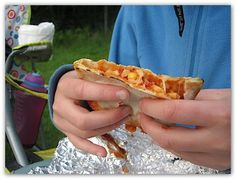 Campfire pizza pockets - these are excellent.  I put normal pizza toppings in mine - sausage, pepp,  Mushrooms, cheese and sauce.