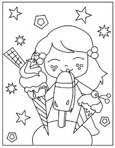 Free & Easy To Print Ice Cream Coloring Pages - Tulamama Ice Cream Coloring Pages, Food Coloring Pages, Summer Coloring Pages, Coloring Sheets For Kids, Coloring Pages For Girls, Coloring Books, Kids Coloring, Summer Diy, Summer Crafts