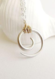 Maori Koru necklace, sterling silver spiral, tribal necklace