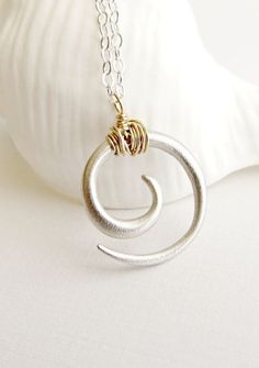Maori Koru necklace, sterling silver spiral, tribal necklace