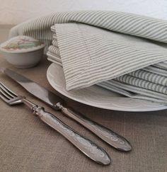 Striped Linen Napkin Set of 4 8 12 White Grey Linen Napkins & Pink Linen Table Runner - Pink Lavender Linen Table Runner - Natural ...