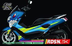 Open order,  #nmax #yamaha #thailook #blues #shark ##nmaxcuttingsticker #stickers #decal #3dcuttingsticker #banyuwangi #roodshine #rdsn #46 Yamaha Nmax, Yamaha Scooter, Custom Motorcycles, Cars And Motorcycles, Honda Pcx, Xmax, Blue Shark, Sidecar, Blues