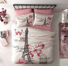 100% Turkish Cotton 4 Pcs ! Paris Eiffel Tower Theme Themed Pink Butterfly Full Double Queen Size Quilt Duvet Cover Set Bedding 4pcs!! Made in Turkey TAC http://www.amazon.com/dp/B00TGQ1IIM/ref=cm_sw_r_pi_dp_pj47vb0SZQ4YQ