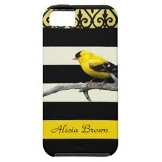 Yellow Bird and Striped Abstract Case For iPhone 5/5S