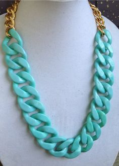 """Waterfalls"" Mint / Aqua Links Long Statement Necklace by NuSansBijoux on Etsy, $54.00"