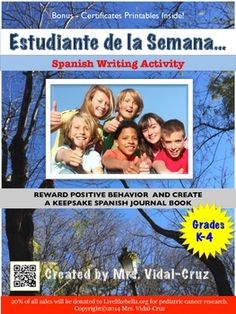 Estudiante de la Semana is a Spanish engaging and fun writing activity where a special class diary book is created throughout the year. A Spanish journal entry is written each week by the person selected (the teacher selects) as the Student of the Week.