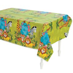 Perfect for your zoo animal theme birthday party! Cover your tables with this cute tablecloth and prevent a messy clean-up! Find our matching Zoo Animal party supplies and party decorations online along with our full selection of tablecloths! Safari Party, Zoo Animal Party, Jungle Party, Plastic Table Covers, Plastic Tablecloth, Zoo Birthday, 1st Birthday Parties, Animal Birthday, Birthday Celebrations