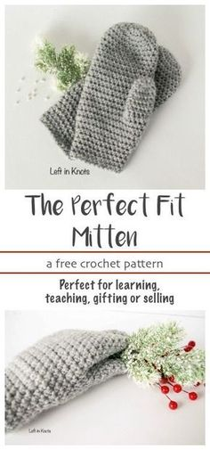 """A FREE beginner friendly crochet pattern. These mittens will fit you perfectly because they can be easily customized in length! They are the next pattern in my """"Crochet Basics"""" series, which means they are simple and adorable. This free pattern is perfect for learning, teaching, selling or gifting!"""