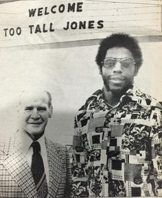 "NFL Draft History: Cowboys coach Tom Landry meets w/Ed ""Too Tall"" Jones after taking him w/the 1st pick in 1974"