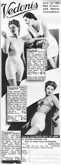8fcabf5f84b5 Retro advert for underwear advert by Vedonis. These attractive Vests and  Panties have that 'springy loftiness' of knitting of a high quality.