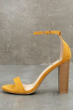 59072ba8ba6 No one does it quite like the Taylor Mustard Yellow Suede Ankle Strap Heels!  Whether