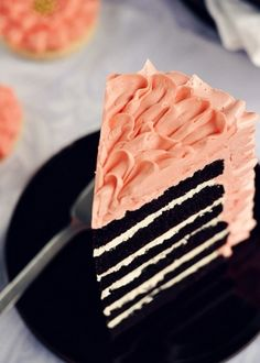 Peach and black wedding cake. Yum!