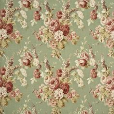 Vintage Floral - Coral/Sage fabric, from the Country Weekend collection by Mulberry Home Vintage Floral Fabric, Vintage Flowers, Vintage Textiles, Vintage Patterns, Vintage Prints, Vintage Floral Backgrounds, Mulberry Home, French Fabric, French Country Fabric