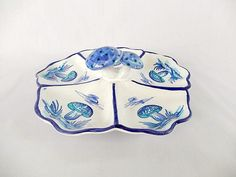 vintage Italian dish handmade handpainted with 3D by brixiana