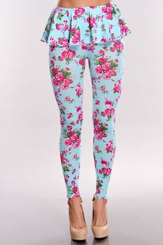 Wear these stylish leggings for any occasion! They will sure keep you cozy and comfortable wherever you may go! These stylish leggings features include: peplum waist, floral print all throughout, and stretchy fit.