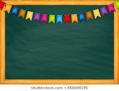 School blackboard with garlands of colorful flags vector Background For Powerpoint Presentation, Background Powerpoint, Kindergarten Coloring Pages, Kindergarten Activities, Kids Background, Flower Background Wallpaper, Classroom Background, Graduation Certificate Template, Teacher Cartoon