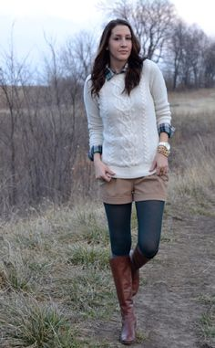 winter shorts colored tights plaid button up shirt cable knit sweater boots
